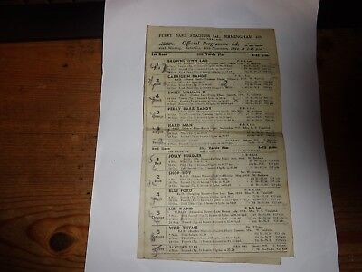 GREYHOUND RACING CARD 4 pages  PERRY BARR BIRMINGHAM 11th November 1944
