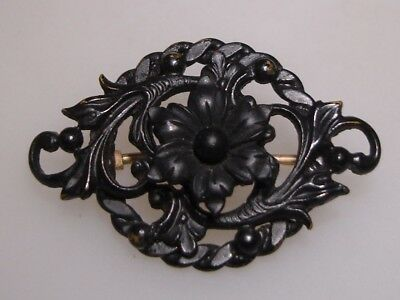 Ornate Vitorian 1800's Mourning Floral Pin/brooch! Tube Hinge