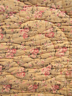 Antique French quilt floral pink floral design
