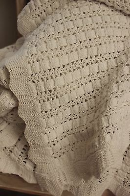 Vintage French hand-made coverlet Knit knitted 90 X 125 white cotton