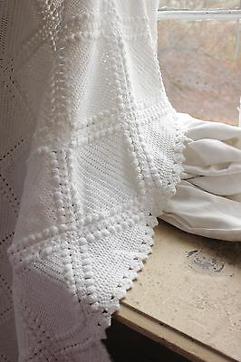 Vintage French hand-made coverlet crochet LARGE 104X122 queen RARE white cotton