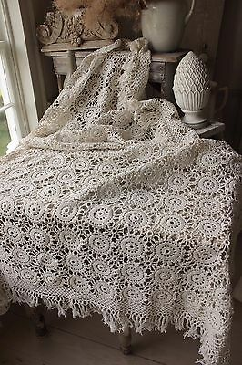 Vintage French hand-made coverlet crochet 64X73 curtain bed cover tablecloth etc