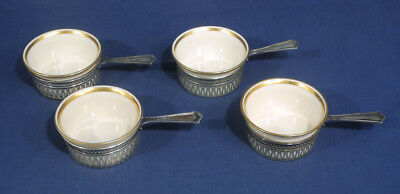 "4 Lenox Liner Insert Bouillon Cup Bowl Ramekins 3-3/8"" International Sterling"