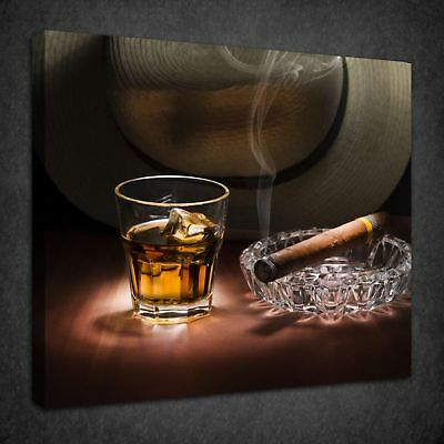 Smoking Cigar Glass Of Rum Kitchen Box Canvas Print Wall Art Picture