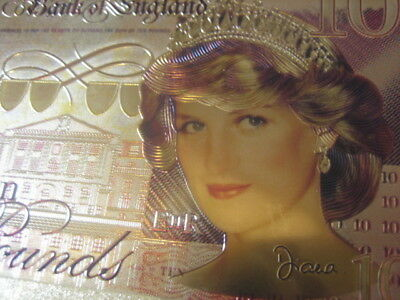 24K Gold Colourised The New Lady Diana Commemorative £10 Ten Pound Note 20 Yrs