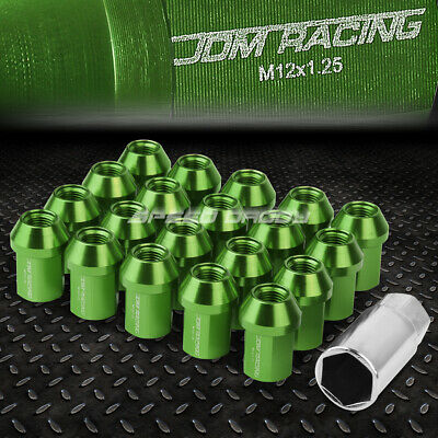 Jdm Close-End Aluminum Green 20 Lug Nuts Set+Adapter M12X1.25 25Mm Od/35Mm Tall
