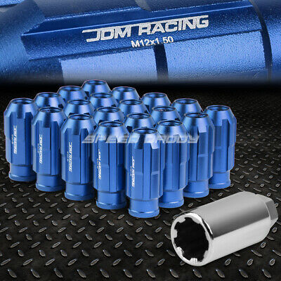 Jdm Open-End Aluminum Blue 20 Lug Nuts Set+Adapter M12X1.5 24Mm Od/50Mm Tall