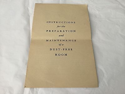 Vintage Instructions for the Preparation and Maintenance of a Dust-Free Room