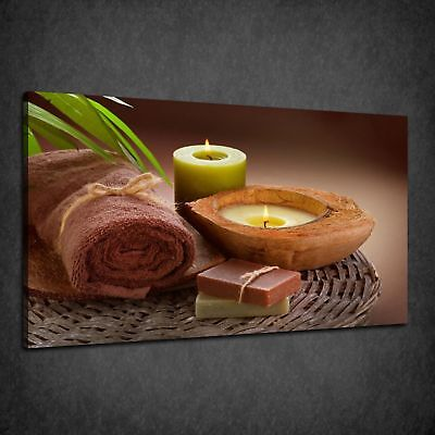 BATHROOM SPA CANDLE DAISY IN THE WATER BOX CANVAS PRINT WALL ART PICTURE