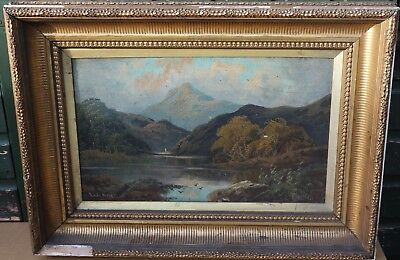 Old Dirty Large Heavy Gilt Framed Painting On Board Of River Landscape Signed