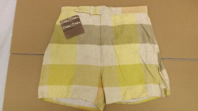 Vtg 60s NOS Catalina Swim Suit Sz 30 COOL Rayon/Flax Plaid Surf Shorts/Trunks
