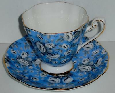 Royal Standard China Cup and Saucer Set Blue Chintz Pattern Black & White Floral