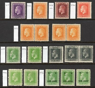 NEW ZEALAND 1915-33 KGV Definitive selection M, un., SG 417//452 cat £117