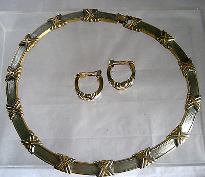 Set Of Gold And Silver Tone Necklace With Matching Earrings Clip Ons