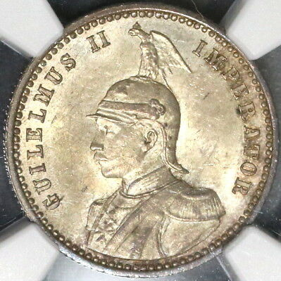 1891 NGC MS 62 German East Africa Silver 1/4 Rupie Coin 77K Minted (17090403C)