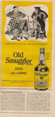 1953 Old Smuggler Scotch Whisky Advertising~Bear~Hunters/Hunting Theme Ad