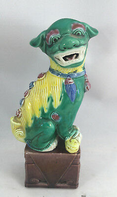 """Green Yellow Foo Dog Asian Chinese Figurine Vintage Antique Help ? 504 Base 6"""""""