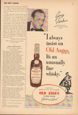 1952 Actor George Sanders-Vintage 50s Old Angus Scotch Print Ad