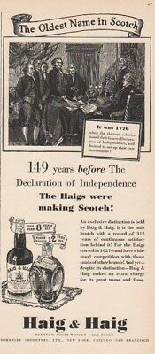 1939 Haig Scotch~Declaration of Independence 1776 -Five Star-Pinch 30s Print Ad