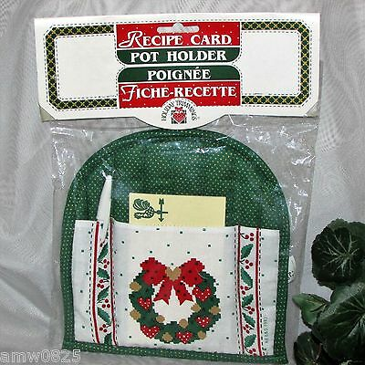 New Christmas Pot Holder Gift Set Recipe Cards Pen Gift Giftable Kitchen Nwt