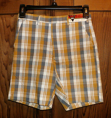 1970's Vintage w/ tags Boy's Sz 12 Slim DANTE Walk Shorts Gold Gray White PLAID