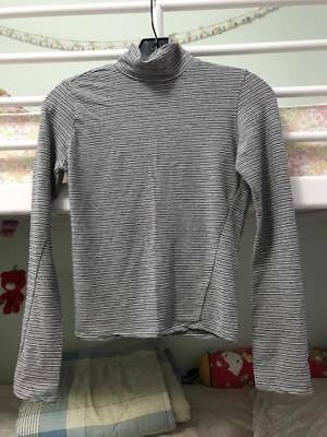 NWOT Brandy Melville gray and black stripe crop turtleneck ONE SIZE