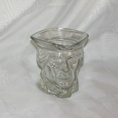 Vintage Avon Candle Holder Colonial Man Patriot Clear Glass Heavy Figural Head