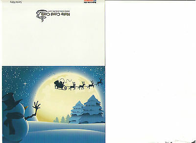 Santa Flyby With Snowman Glossy Note Card Blank Inside Made In Usa Excellent