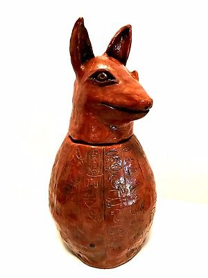 Egyptian Canopic Jar Duamutef  Handcrafted Pottery Estate Find 13 inches Tall