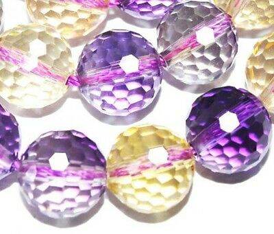12mm Ametrine Crystal Faceted Round Gemstone Jewelry Beads