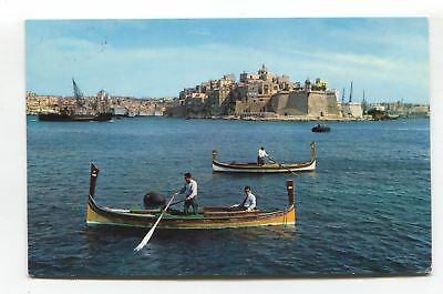 Malta - Senglea Point, water taxis? - 1963 used postcard