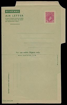 NIGERIA 1d EARLY SCARCE UNUSED AIR LETTER STATIONERY