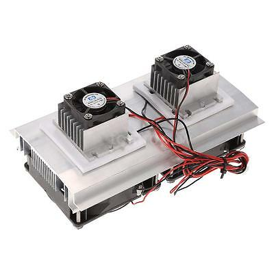 Thermoelectric Peltier Refrigeration Cooling System Kit Module Double Fan O0L9