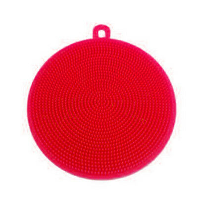 Red Silicon Double-Side Cleaning Dish Washing Scouring Pad Sponge Scrubber