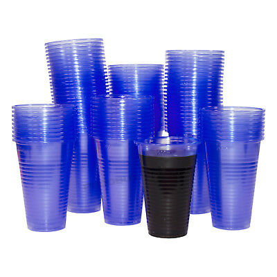 200ml Blue Plastic Water Cooler Cups 7oz Disposable Beakers Office School Party