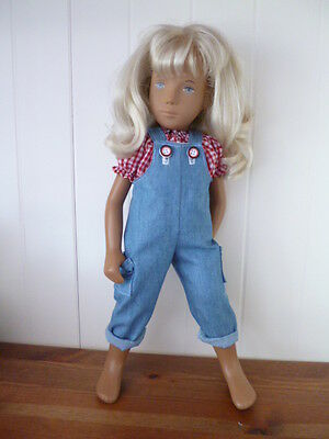 BJB Sasha dolls clothes Blue denim dungarees + red gingham blouse top Summer 2pc