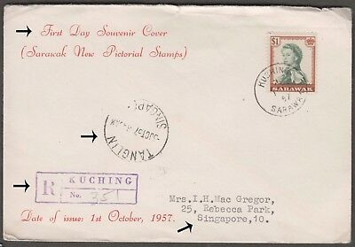 SARAWAK 1957 QE $1 ON KUCHING REGISTERED 1st DAY SOUVENIR COVER TO SINGAPORE