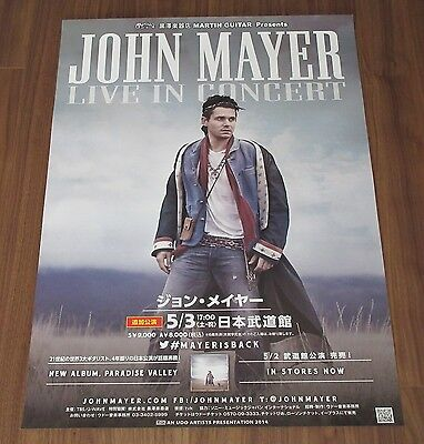 JOHN MAYER Japan PROMO ONLY TOUR POSTER official 2014 unsued PARADISE VALLEY