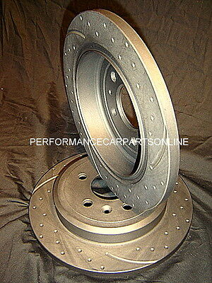 DRILLED & SLOTTED Ford BA BF FG  Rear Disc Brake Rotors NEW PAIR with WARRANTY
