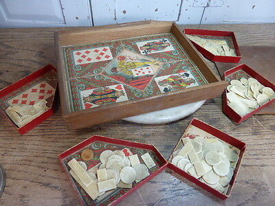 Antique/vintage French gaming box with card game and counters