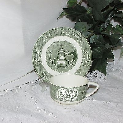 Royal China The Old Curiosity  Shop Cup & Saucer Vintage Green Transfer Pattern