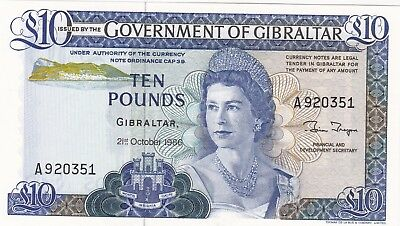 P22b GIBRALTAR 1986 TEN POUNDS BANKNOTE IN CRISP MINT CONDITION