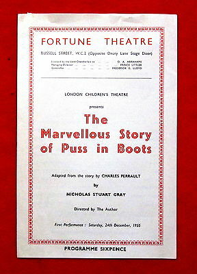 Fortune Theatre The Marvellous Story of Puss In Boots 1955 Program London msc3
