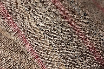 Antique French 18th olive sack linen striped hand-woven textile PRIMITIVE rustic