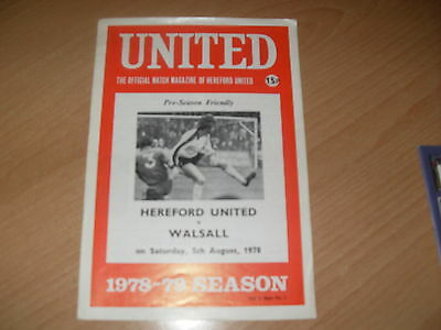 Hereford United v Walsall 5/8/78 Friendly