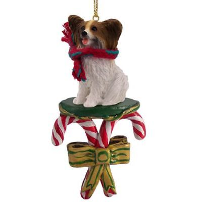 Papillon Brown White Dog Candy Cane Christmas Tree ORNAMENT