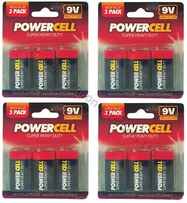 12 x 9V PP3 Powercell Heavy Duty Smoke Alarm MN1604 6LR61 Battery Batteries