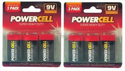 6 x 9V PP3 Powercell Heavy Duty Smoke Alarm MN1604 6LR61 Battery Batteries