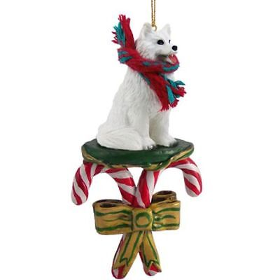 Samoyed Dog Candy Cane Christmas Tree ORNAMENT