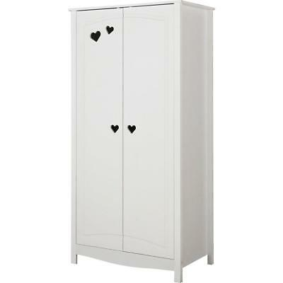 New Mia 2 Door Wardrobe In White Love Hearts